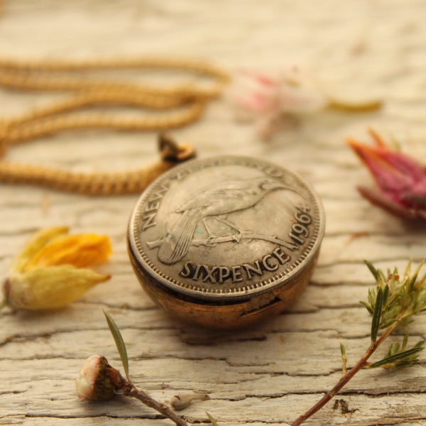 Vintage NZ Sixpence Coin Necklace