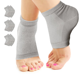Nado Care Moisturizing Socks Lotion Gel for Dry Cracked Heels - Spa Gel Socks Humectant Moisturizer Heel Balm Foot Treatment Care Heel Softener Compression Cotton - 3 Pair (Grey)