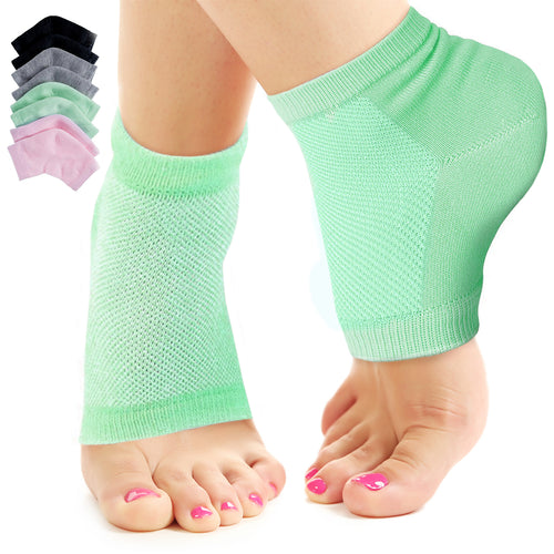 Nado Care Moisturizing Socks Lotion Gel for Dry Cracked Heels - Spa Gel Socks Humectant Moisturizer Heel Balm Foot Treatment Care Heel Softener Compression Cotton - 3 Pack and 1 Foot File
