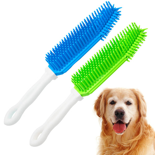 Nado Care Pet Hair Remover Brush, Reusable Rubber Brush for Remove Dog, Cat Hair from Furniture, Car Interiors, Carpet (Blue and Green)