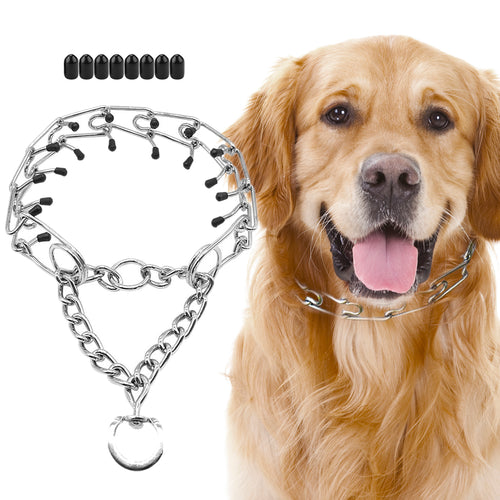 Dog Prong Collar, Stainless Steel Dog Chole Pinch Training Collar with Quick Release snap Buckle for Large Dogs