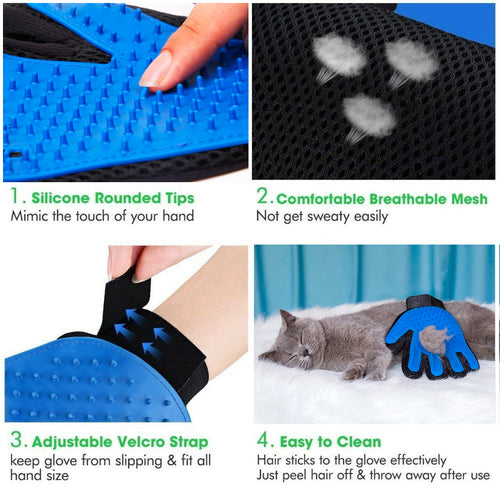 Nado Care Pet Grooming Gloves - Dog, Cat Bathing Scrubber Gloves - Pet Hair Remover Gloves - Deshedding, Massage for Cats, Dogs, Rabbit and Small Pets