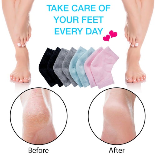 Moisturizing Socks Lotion Gel for Dry Cracked Heels 4 Pack, Spa Gel Socks Humectant Moisturizer Heel Balm Foot Treatment Care Heel Softener Compression Cotton