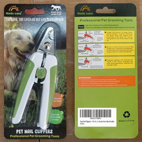 Nado Care Dog Nail Clippers - Pet Nails Trimmer for Dogs or Cats with Safety Guard to Avoid Over-Cutting, Free Nail File & Lock Switch, Sturdy Non-Slip Handles