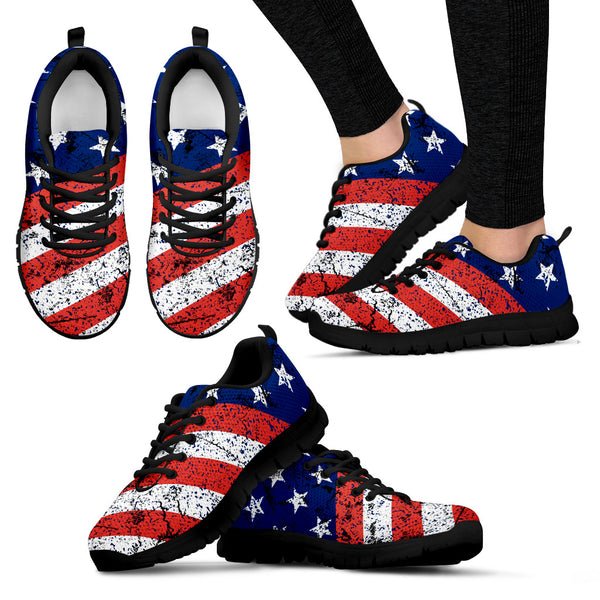 USA Flag | Women's Sneakers (Black) - Monarch Graphics & Design