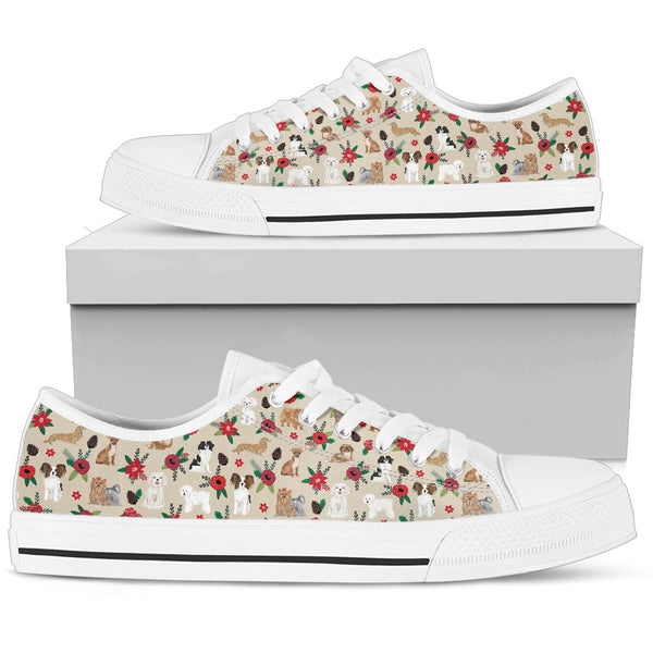Dogs On Floral White Low Top Sneaker - Monarch Graphics & Design