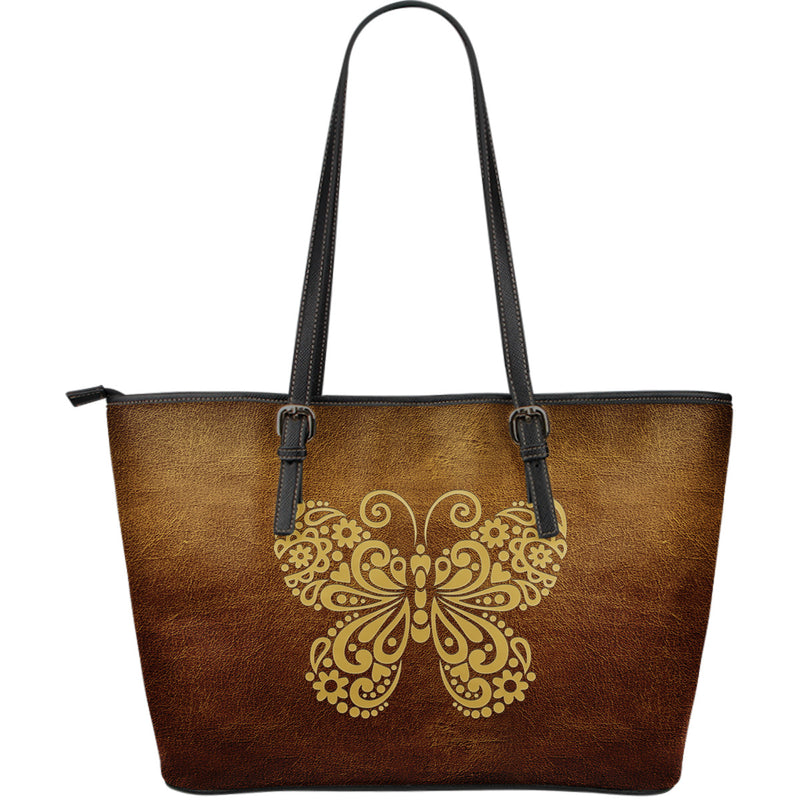 Awesome Butterfly - Large Environmentally Friendly Leather Tote Bag - Monarch Graphics & Design
