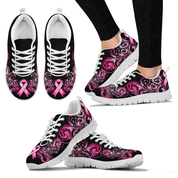 Breast Cancer Awareness Pink Ribbon Women's Sneakers - Monarch Graphics & Design