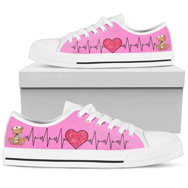 Nurse-Pink Ribbon | Low Top Shoes