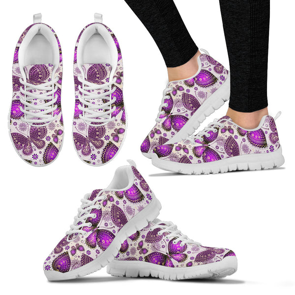 Purple Butterflies | Women's Sneakers - Monarch Graphics & Design