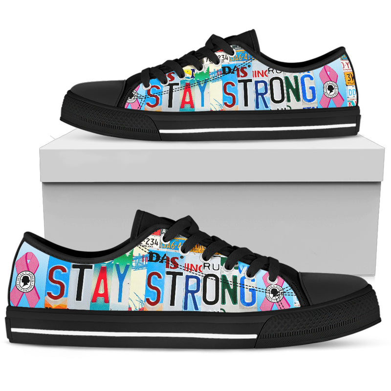Stay Strong - Breast Cancer | Women's Low Top Shoes - Monarch Graphics & Design