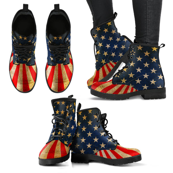 USA Flag - Women's Leather Boots - Monarch Graphics & Design