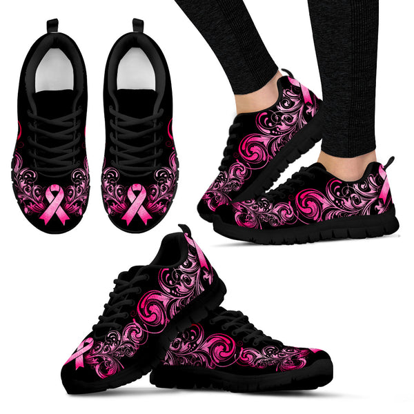 Breast Cancer Awareness (Black) Women's Sneakers - Monarch Graphics & Design