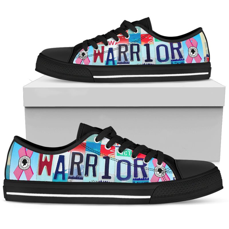 Breast Cancer Warrior Low Top Shoes | Black - Monarch Graphics & Design