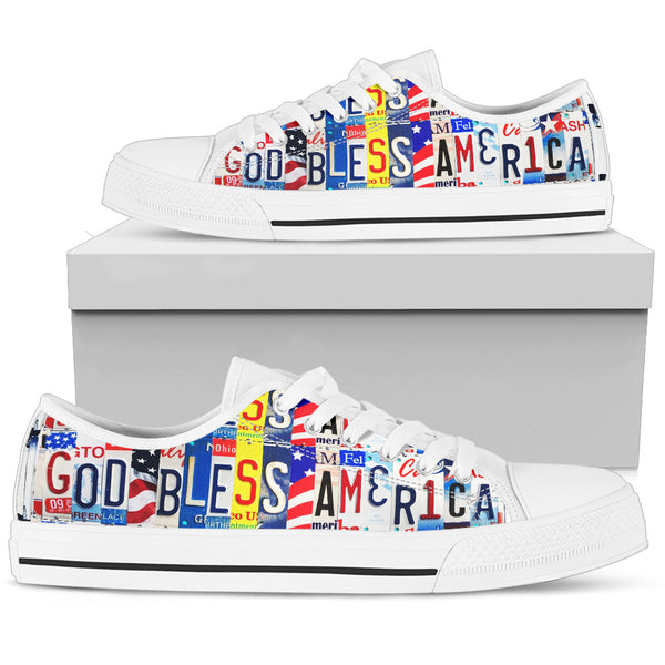 God Bless America | Women's Low Top Shoes - Monarch Graphics & Design