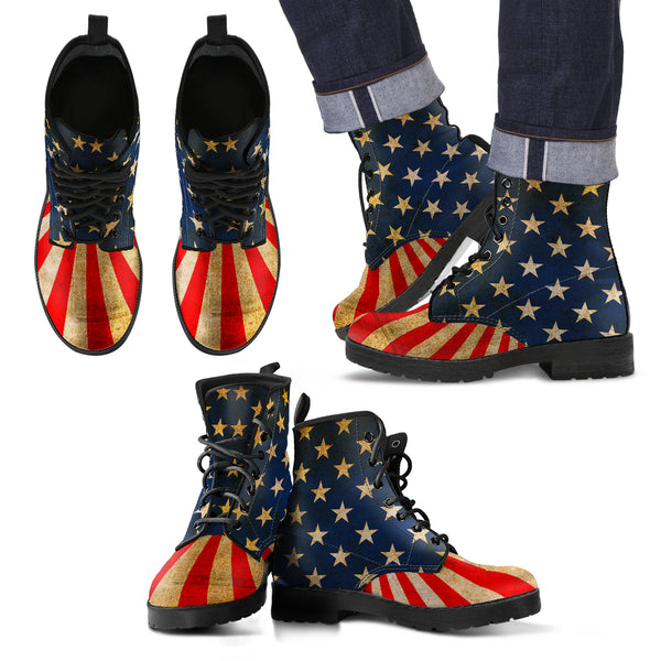 USA Flag - Men's Leather Boots - Monarch Graphics & Design