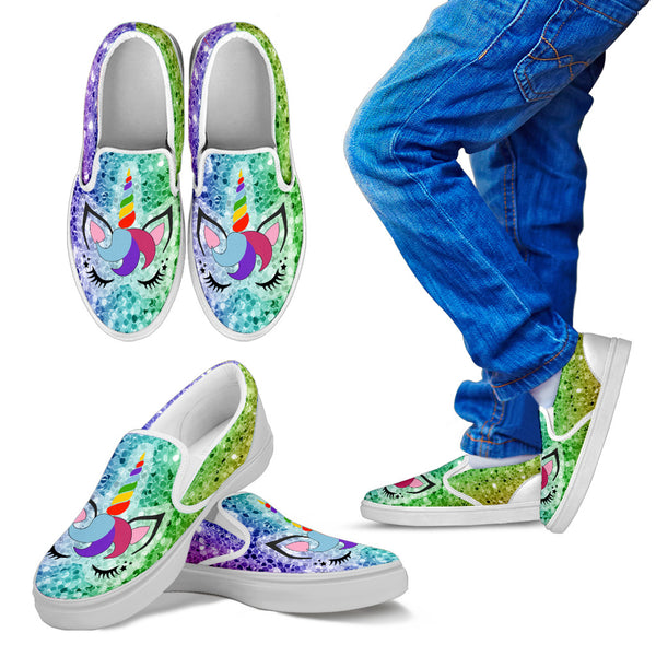 Rainbow Unicorn | Kid's & Women's Slip On Shoes - Monarch Graphics & Design