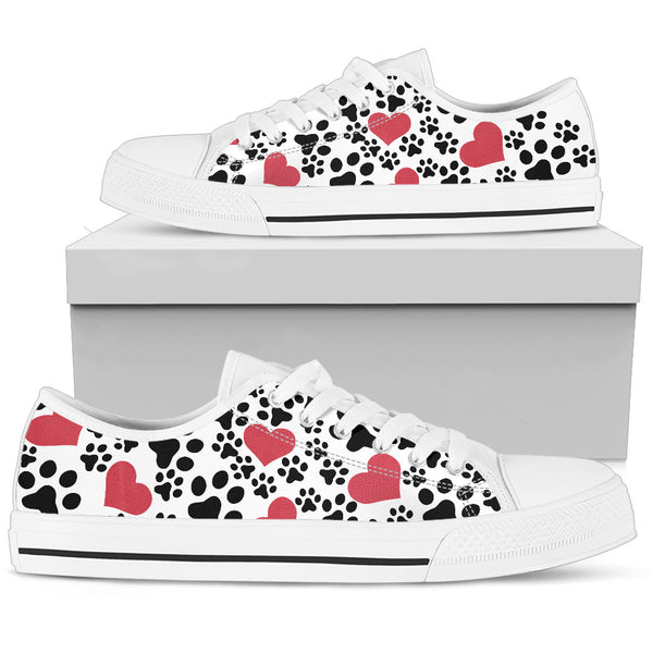 Women`s Low Top Shoes Dog Print White - Monarch Graphics & Design