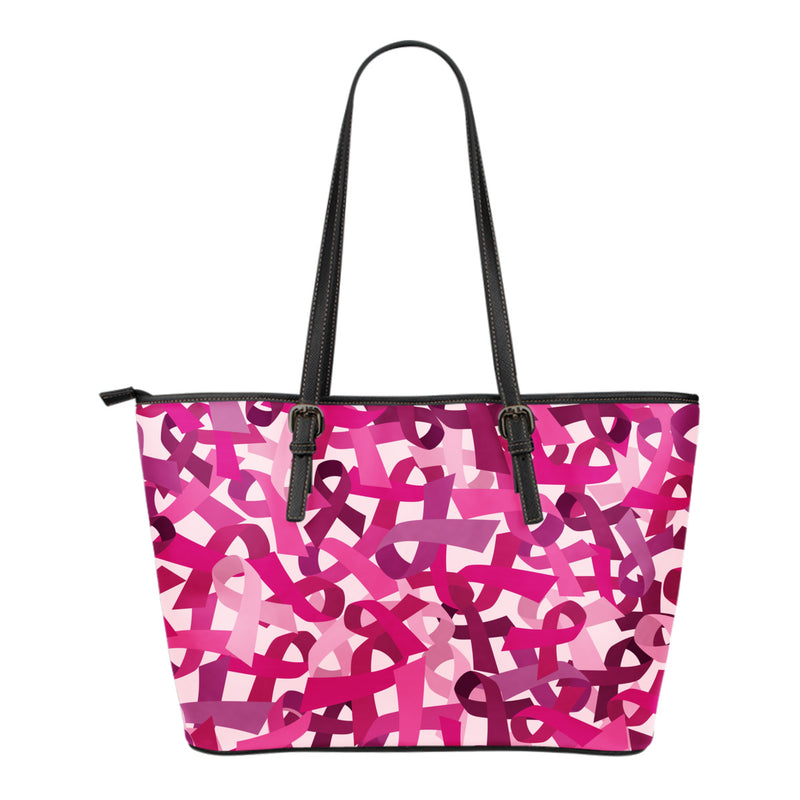Breast Cancer Awareness Small Environmentally Friendly Leather Tote Bag - Monarch Graphics & Design