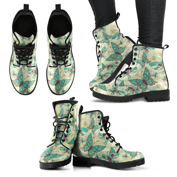 Green Butterfly Handcrafted Boots - Monarch Graphics & Design