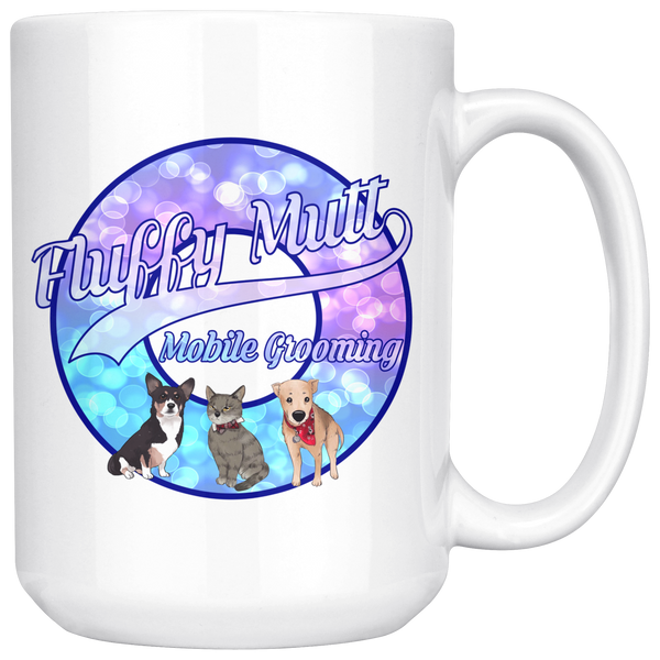 Fluffy Mutt Mobile Grooming | 15 oz. Mug - Monarch Graphics & Design