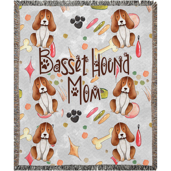 Basset Hound Mom | Woven Blankets - Monarch Graphics & Design