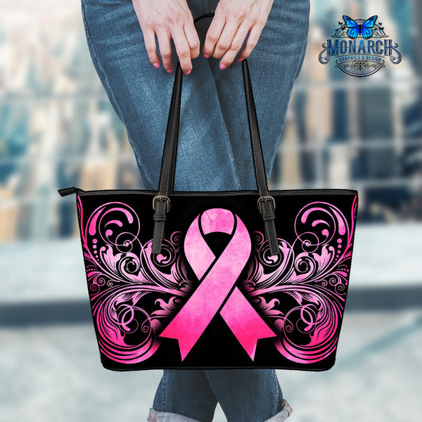 Breast Cancer Awareness Environmentally Friendly Leather Tote Bag - Monarch Graphics & Design