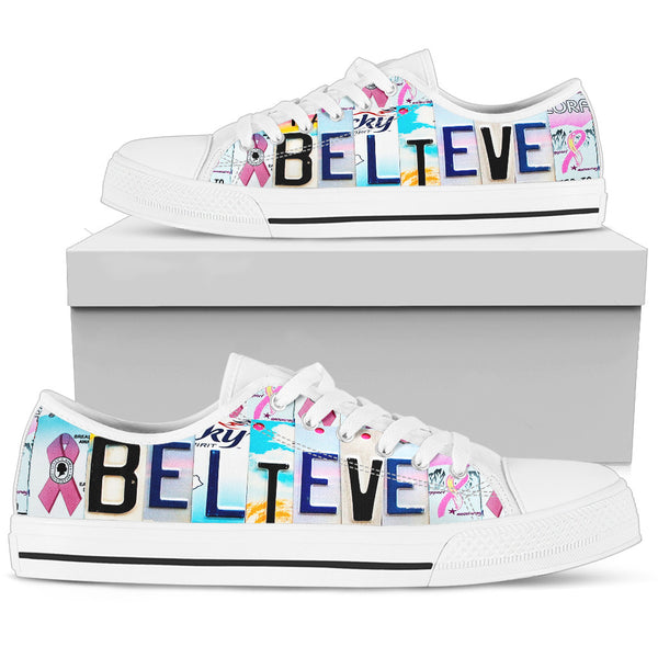 Believe - Breast Cancer Awareness | Women's Low Top Shoes - Monarch Graphics & Design