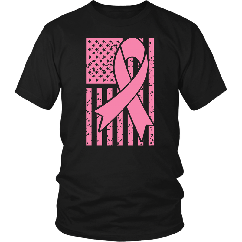 Breast Cancer Ribbon with American Flag - All Pink - Monarch Graphics & Design