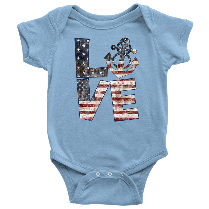 Love - American Flag - Anchor Matching Family Shirts - Monarch Graphics & Design
