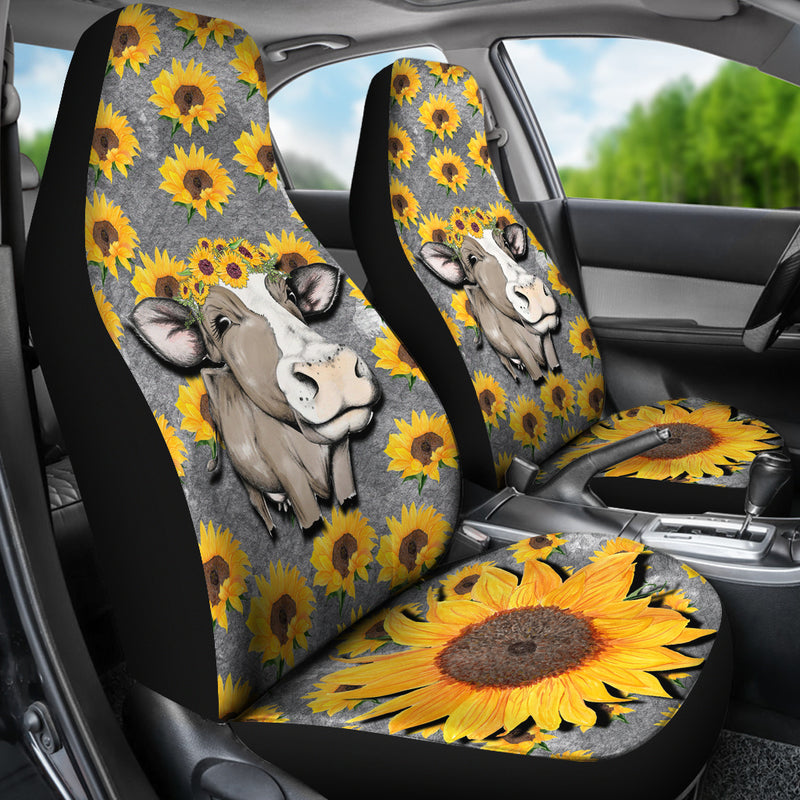 Cow with Sunflowers Car Seat Covers - Monarch Graphics & Design
