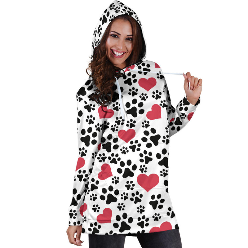 Dog Prints | Premium Ladies Hoodie Dress - Monarch Graphics & Design