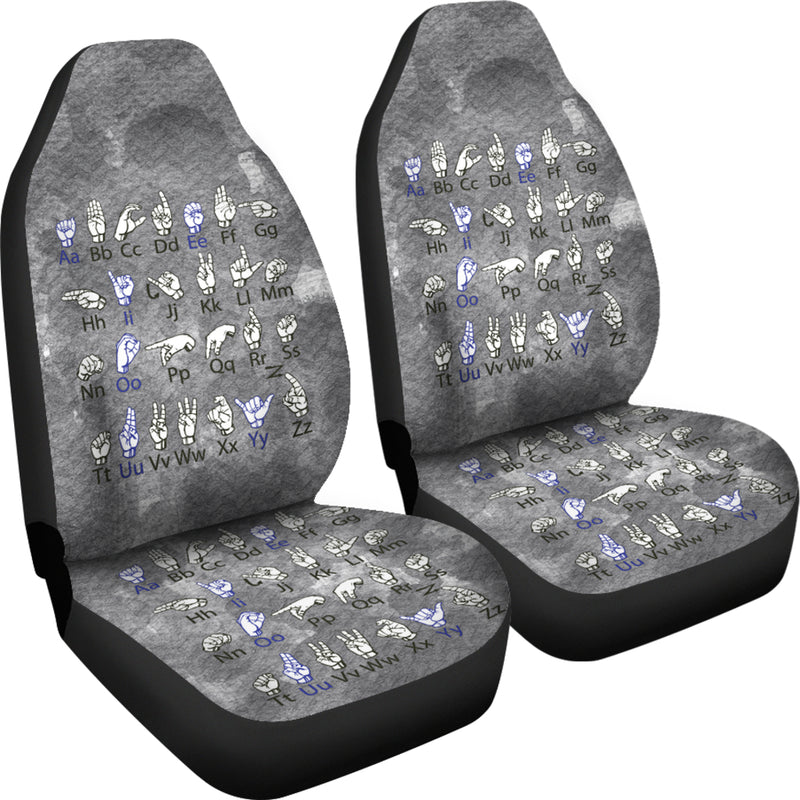 ASL ABC's - Sign Language Car Seat Covers - Monarch Graphics & Design