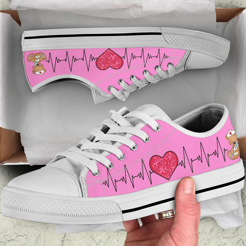 Nurse-Pink Ribbon | Low Top Shoes - Monarch Graphics & Design