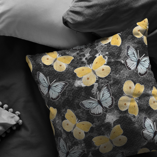 Butterfly Black & Yellow Pillow - Monarch Graphics & Design