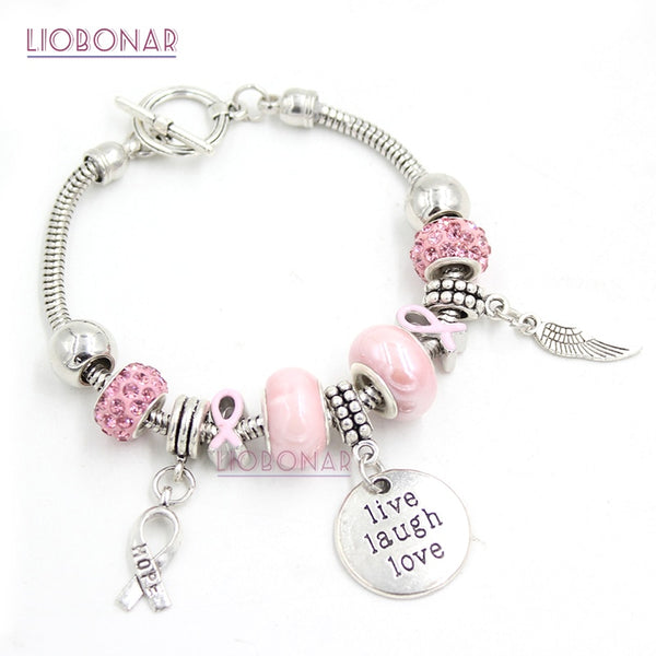 Breast Cancer Awareness Charm Bracelet - Monarch Graphics & Design