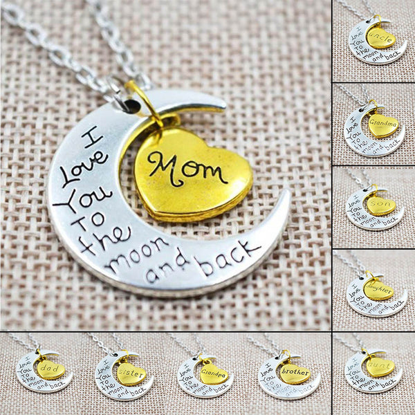 I Love You To The Moon And Back Necklace - Monarch Graphics & Design