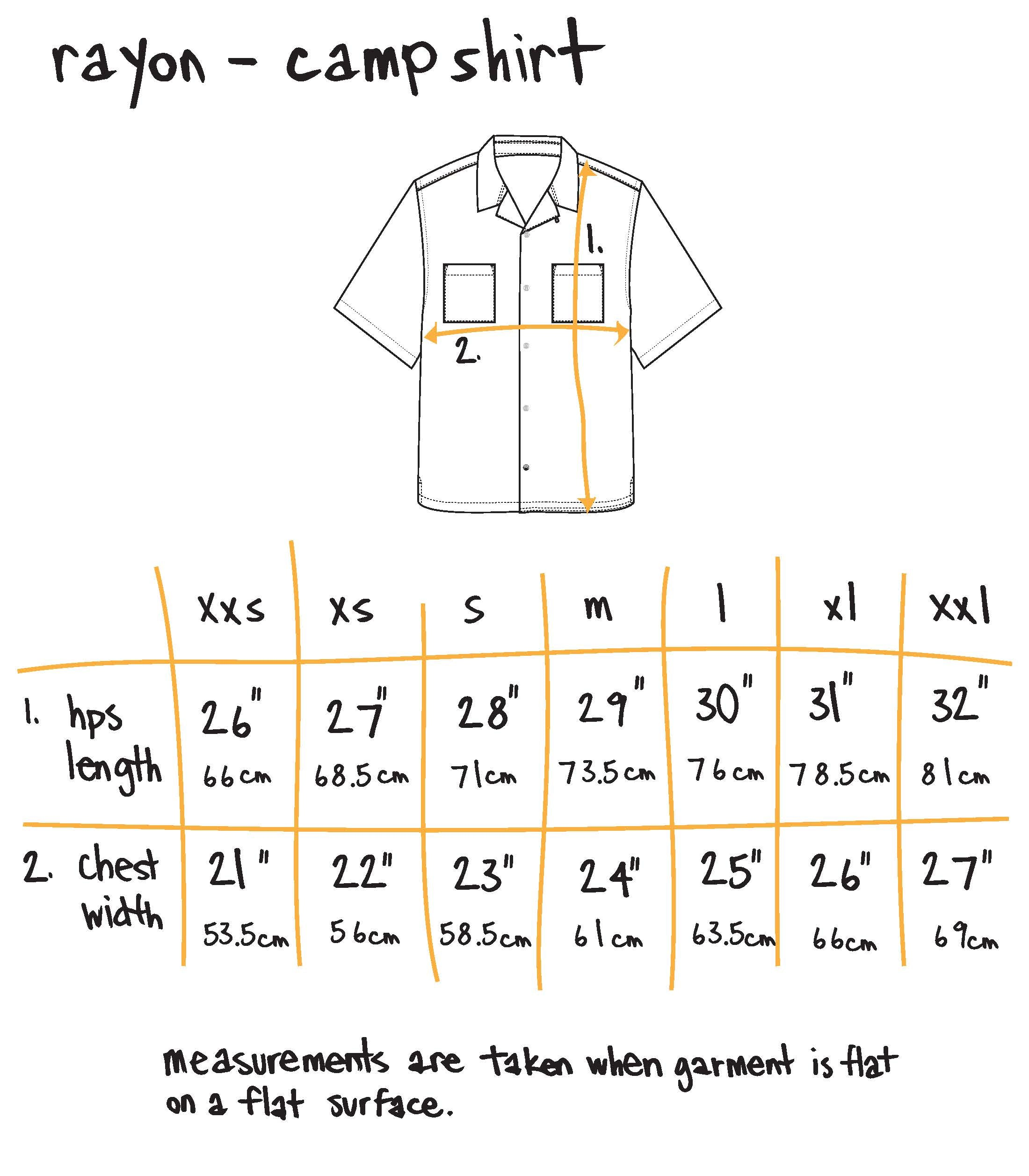 rayon camp shirt - vintage floral Size Guide