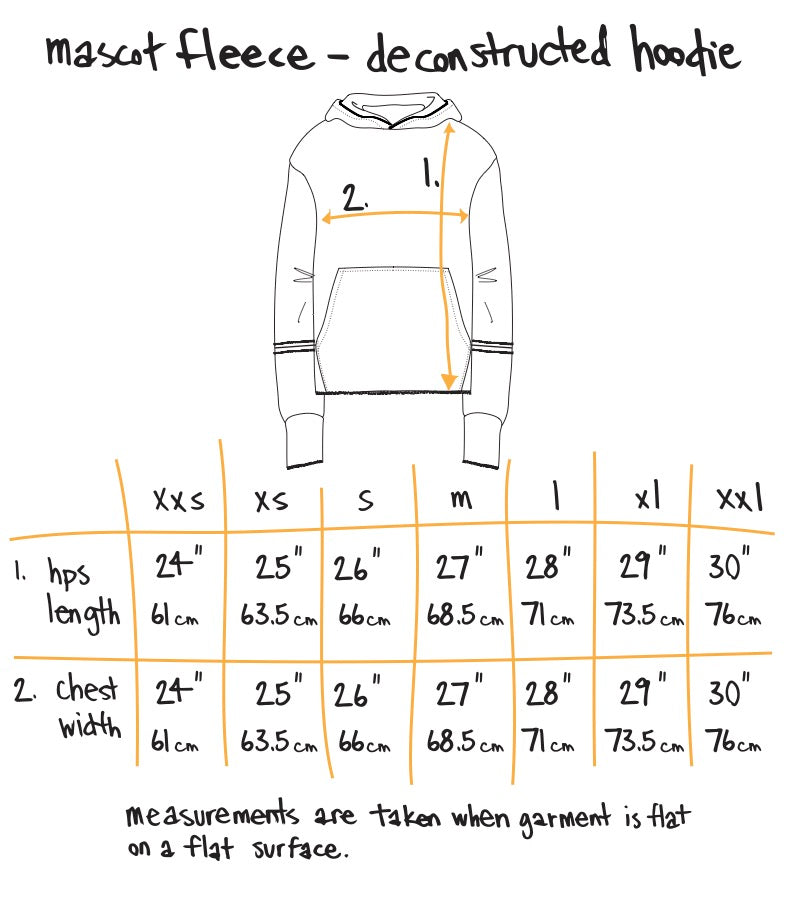 deconstructed mascot hoodie - light yellow Size Guide