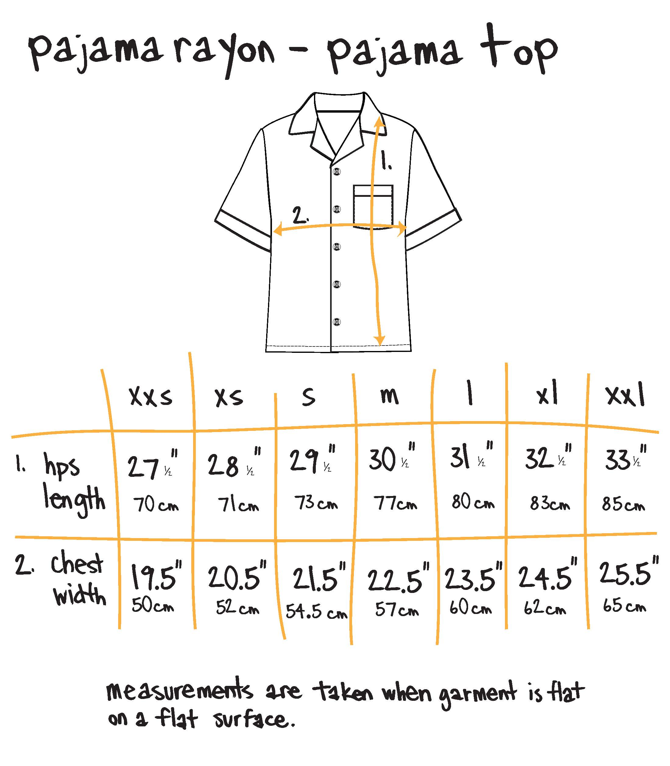 pajama top - beige Size Guide