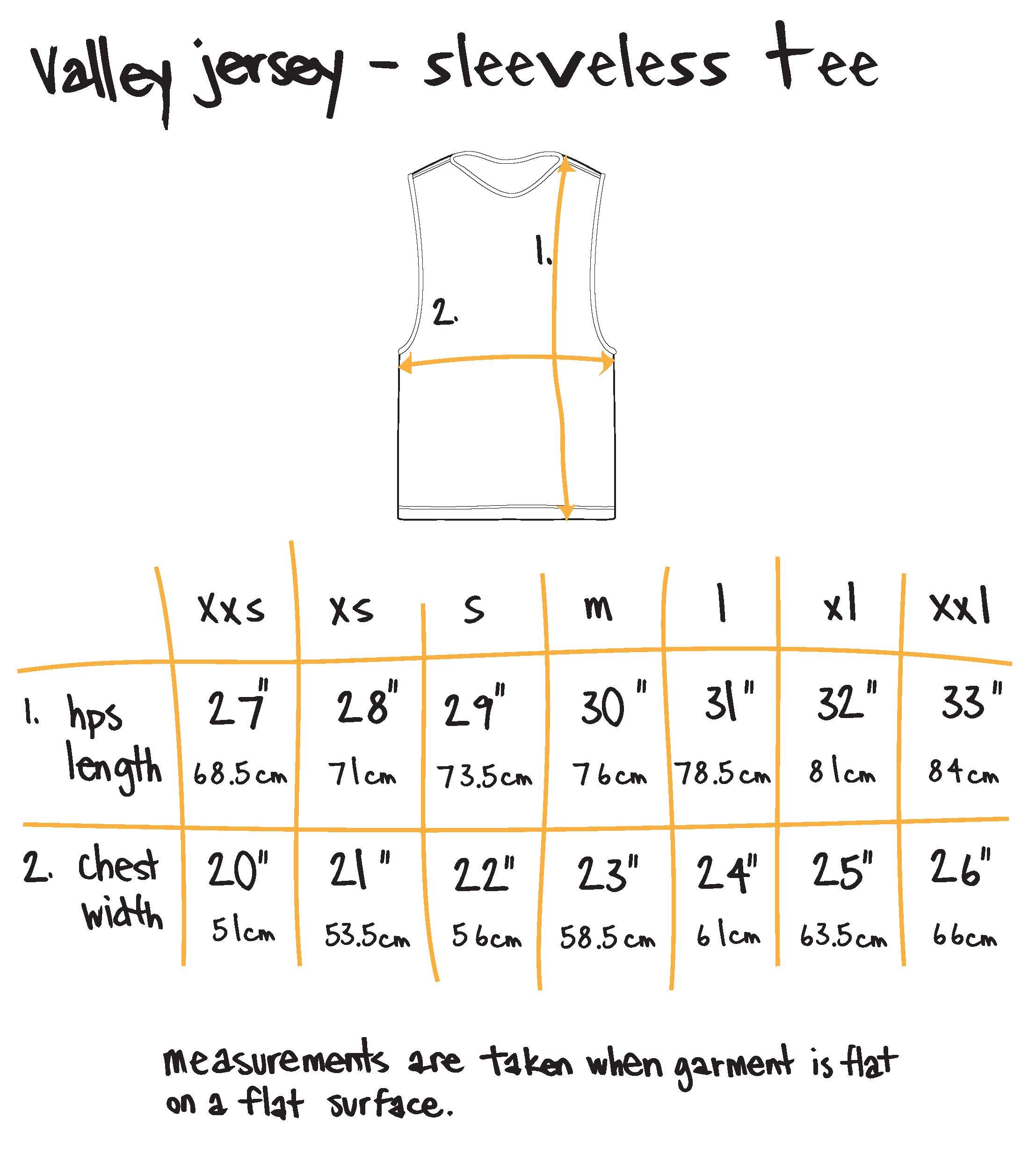 scribble mascot sleeveless tee Size Guide