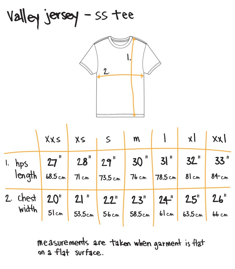 astroid ss tee - baby blue Size Guide