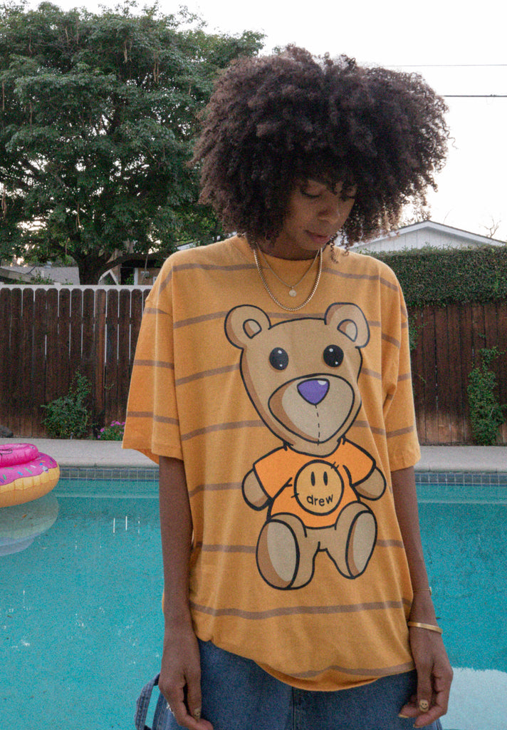 Monday SS Yarn Dye Tee - Golden Yellow/Tan