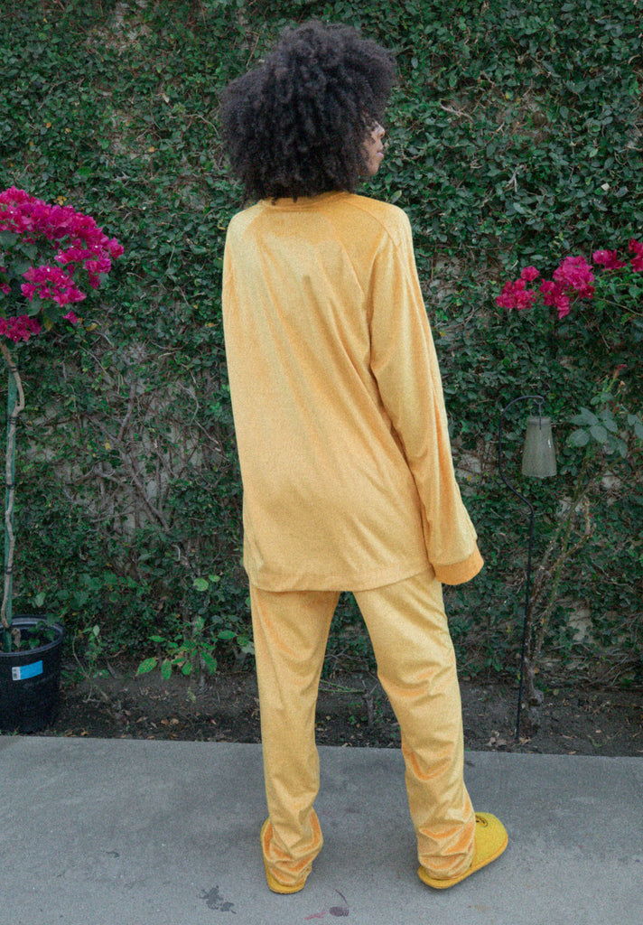 Drew Velour Track Pant - Golden Yellow