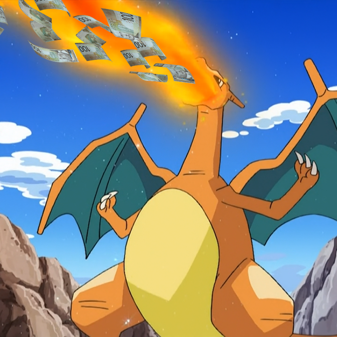 Charizard breathing fire and money