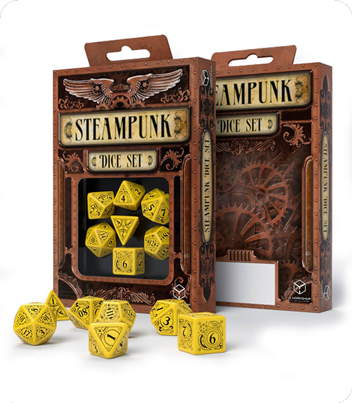 Q-Workshop 7pc RPG Dice Set Steampunk Yellow & Black - Pastime Sports & Games