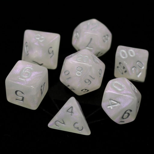 Die Hard Dice 7pc RPG Dice Set - Moonstone w/Silver - Pastime Sports & Games