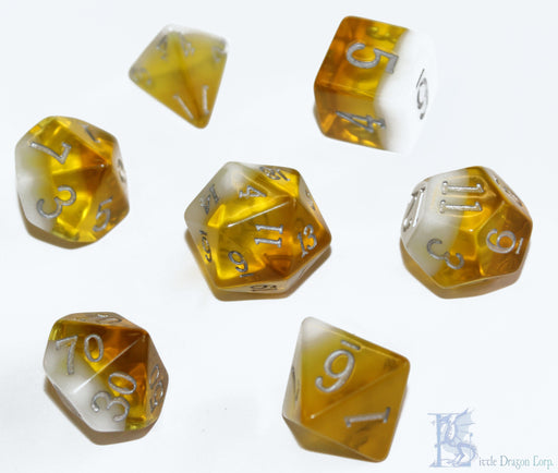 Little Dragon Corp 7pc RPG Dice Set Birthday Dice November Citrine - Pastime Sports & Games