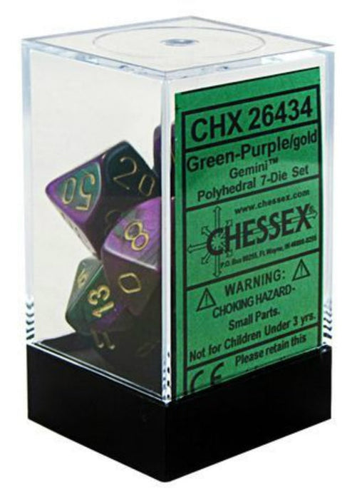 Chessex 7pc RPG Dice Set Gemini Green & Purple/Gold CHX26434 - Pastime Sports & Games