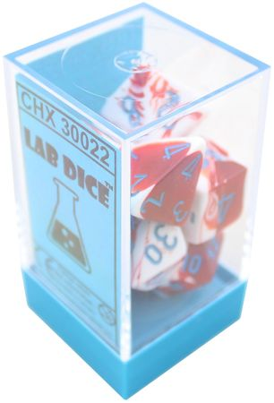 Chessex 7pc RPG Lab Dice Set Gemini Red & White/Blue CHX30022 - Pastime Sports & Games